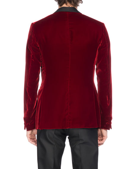 b7566de12e3 Berluti Velvet Tuxedo Jacket With Satin Lapel, Red | ModeSens