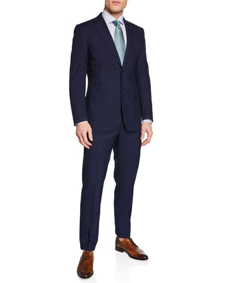 Brioni Men's Tonal Windowpane Two-Piece Suit In Navy