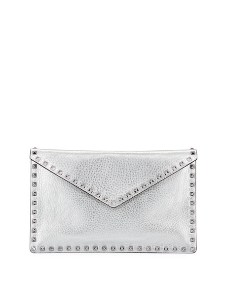 a3f0e029ff Valentino Rockstud Metallic Leather Envelope Clutch Bag In Silver ...