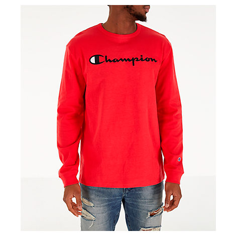 f50179823da9 Champion Men's Heritage Logo Long Sleeve T-Shirt, Red | ModeSens