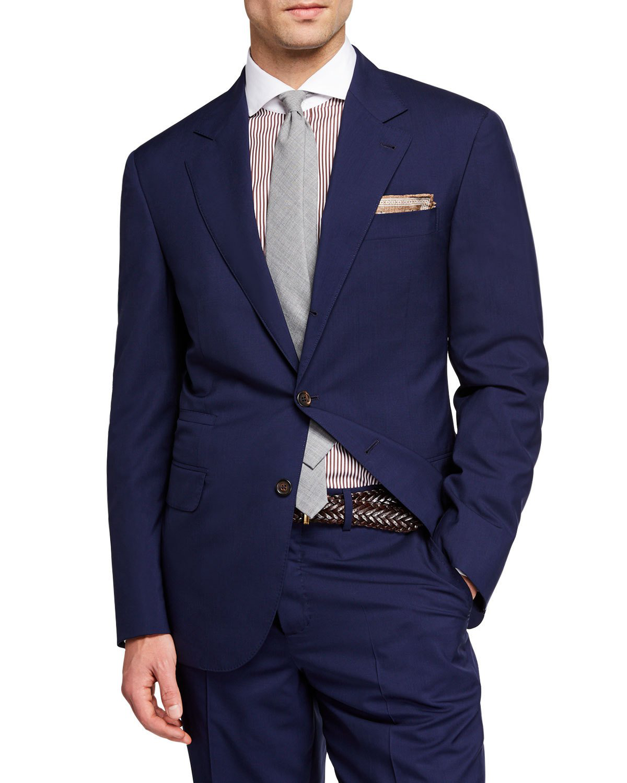 Brunello Cucinelli Men's 150Gr Travel Solid Wool-Silk Two-Piece Suit In Blue