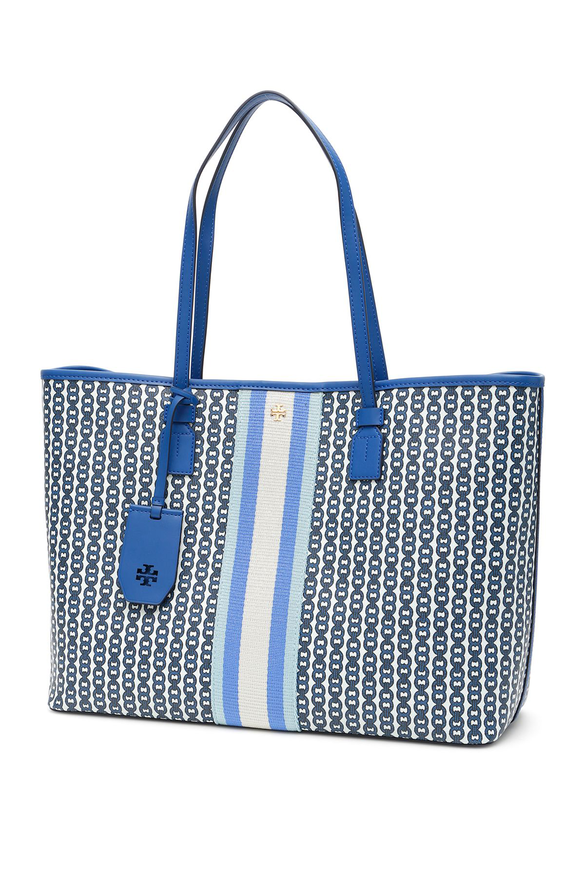faf17410be47 Tory Burch Medium Gemini Link Shopper In Bondi Blue Gemini Link ...