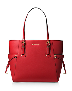8b1657b3747375 Michael Michael Kors Voyager East West Leather Tote In Bright Red/Gold