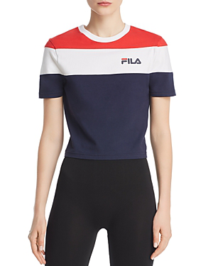8b05f1f5519773 Fila Maya Color-Block Cropped Tee In Peacoat  Chinese Red  White ...