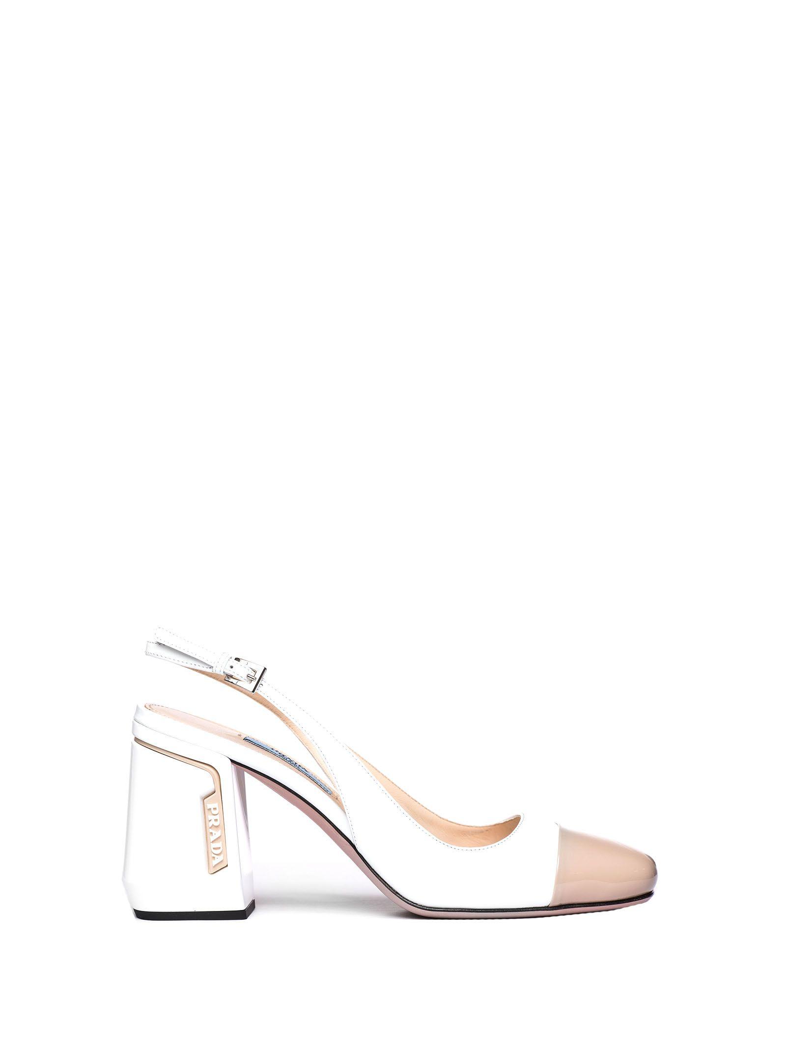 0ebb4106ee Prada White Patent Slingbacks In Bianco+Travertino | ModeSens