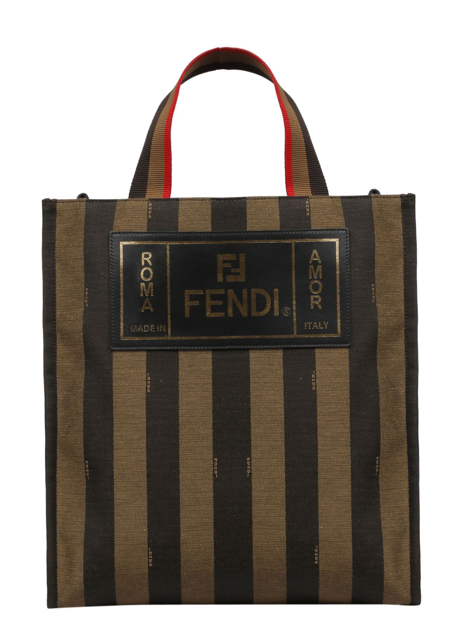 8f903437d53 Fendi Leather-Trimmed Striped Canvas Tote Bag - Brown - One Siz In F164H-