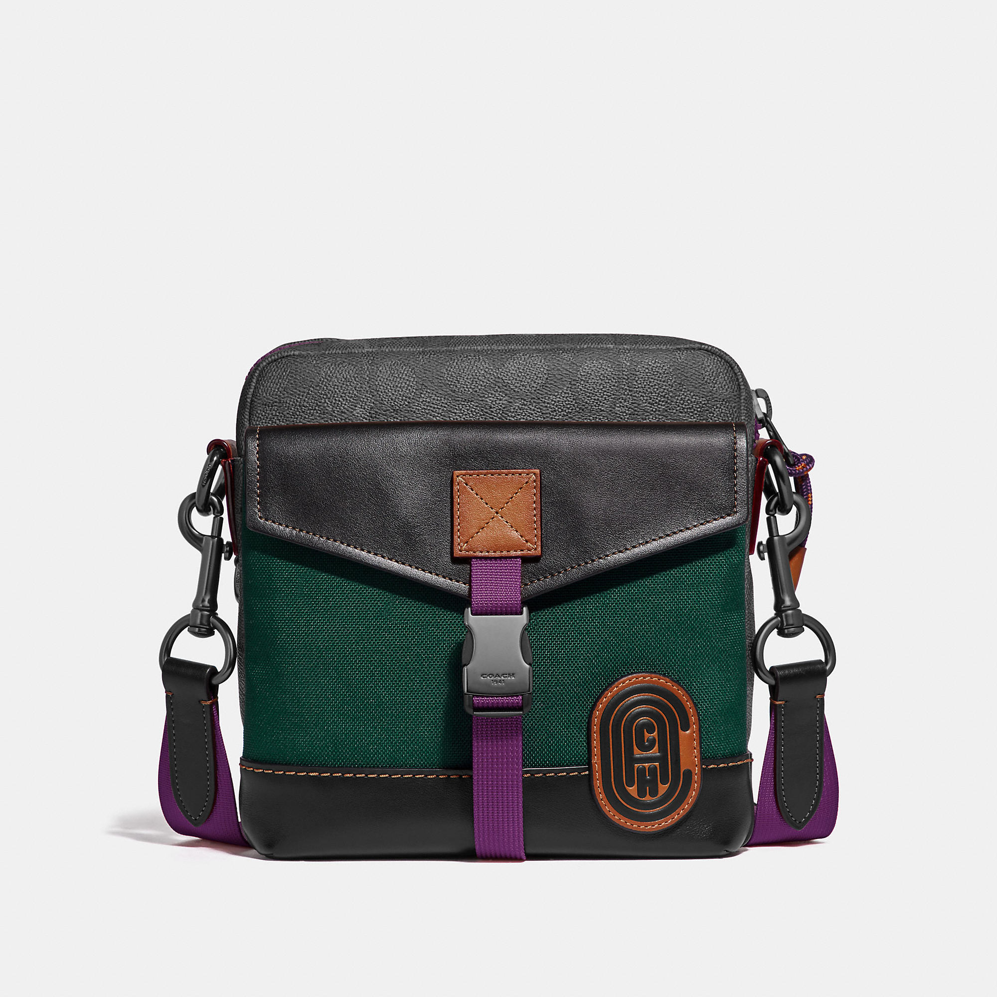 4b6d7d274859 Coach Crossbody In Signature Canvas With Patch - Men's In Charcoal/Black  Copper