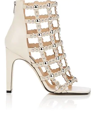 83fe33ca941 Sergio Rossi Studded Leather Caged Sandals In White