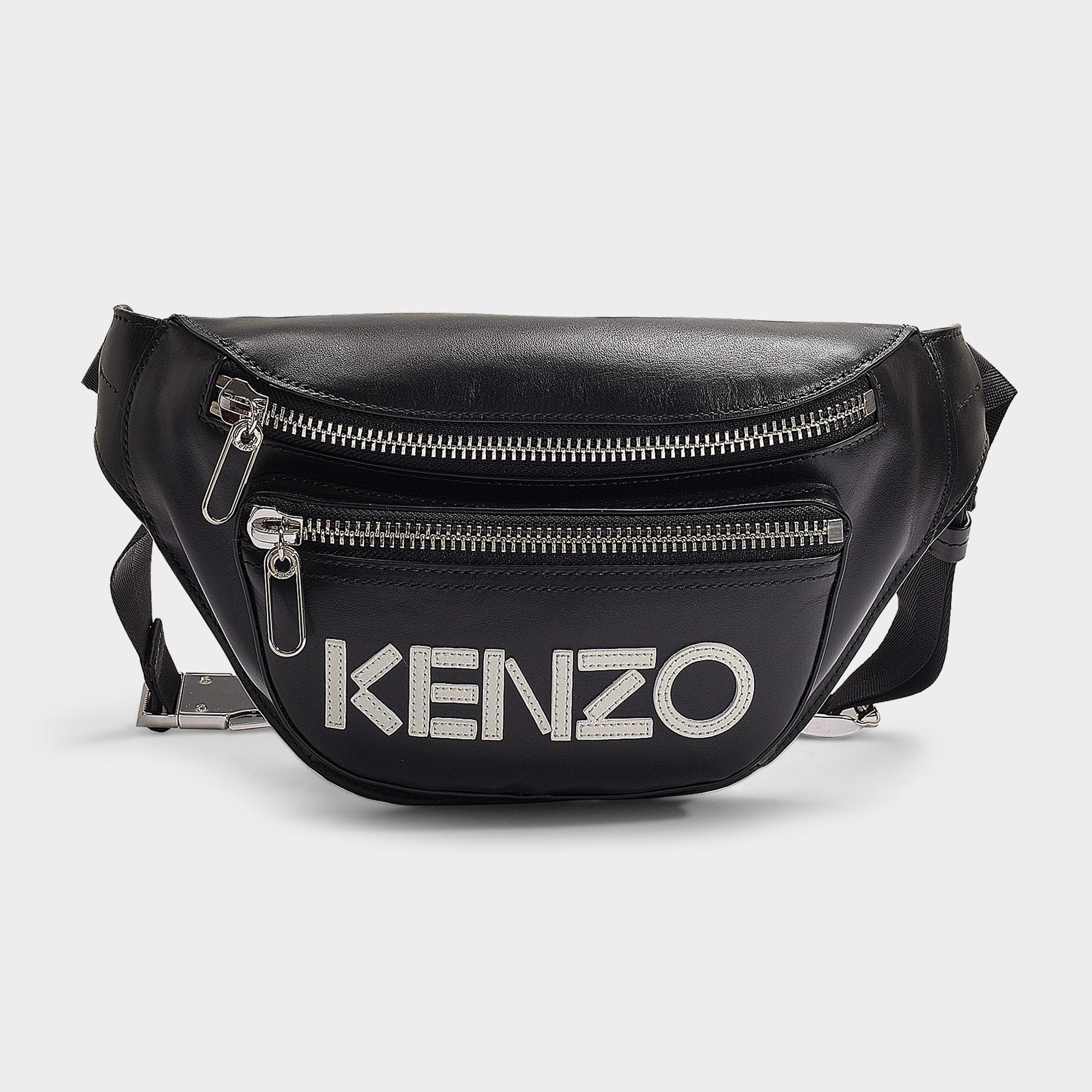 a7f967fe203d52 Kenzo | Logo Bum Bag In Black Calfskin | ModeSens