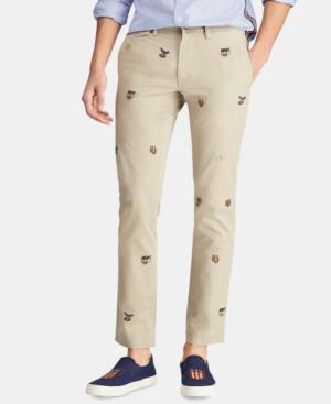 e844e56cab5c5d Polo Ralph Lauren Men's Stretch Slim-Fit Embroidered Chino Pants In Khaki  Tan W/