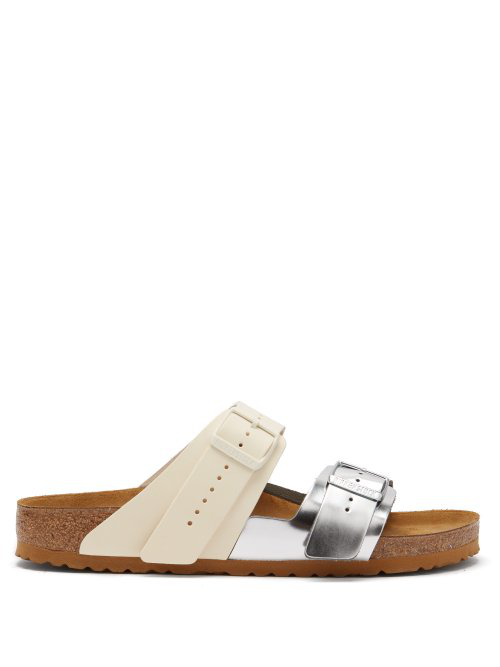 6719eb5e6b82 Rick Owens + Birkenstock Arizona Two-Tone Leather Sandals - Off-White
