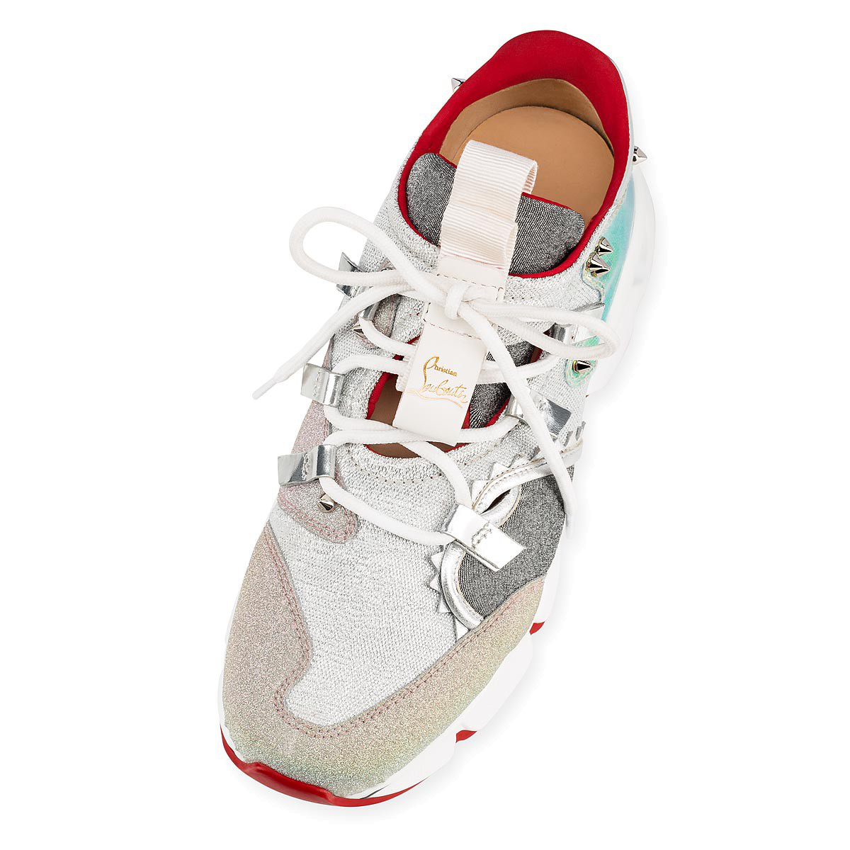 f01462425d4a Christian Louboutin Red Runner Donna Flat Red Sole Sneakers In Silver Multi