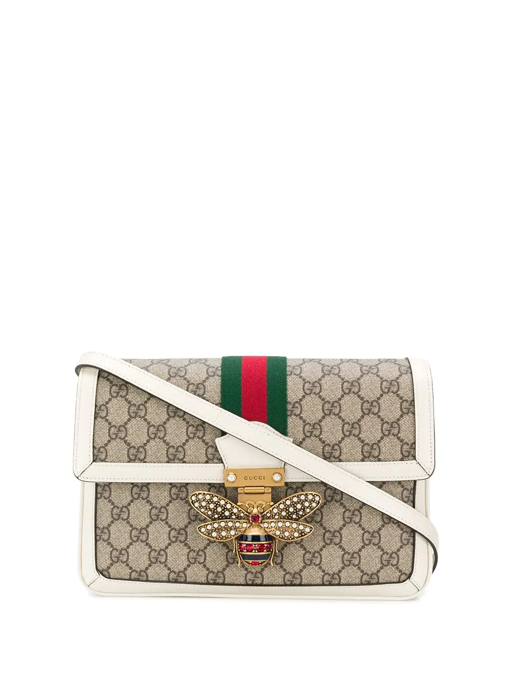 7b1d6bd98a79 Gucci Queen Margaret Medium Leather-Trimmed Printed Coated-Canvas Shoulder  Bag In Beige
