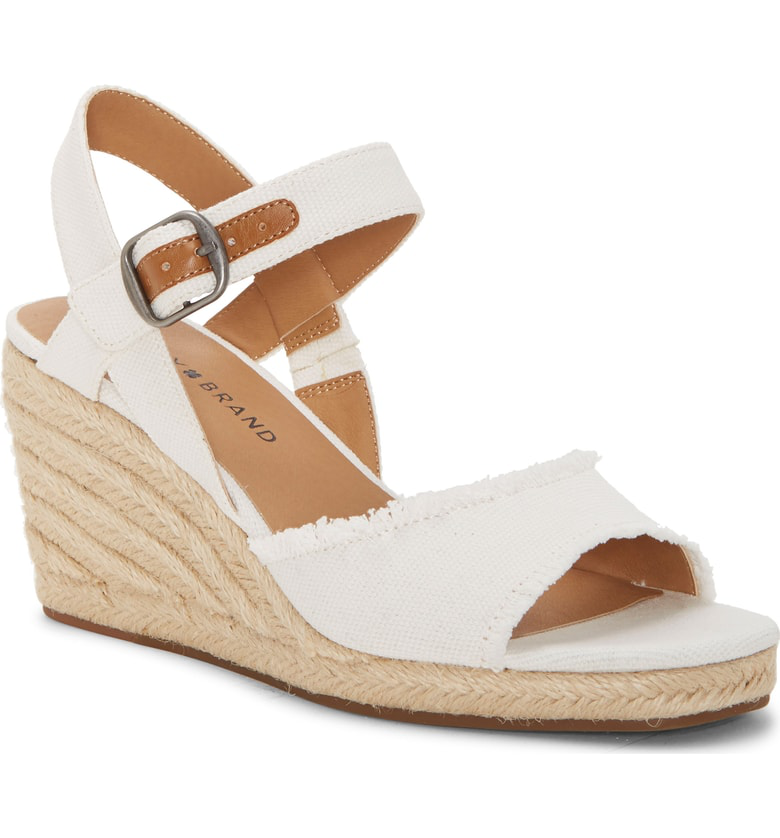 4940c2d8dcd Lucky Brand Mindra Espadrille Wedge Sandal In White Fabric