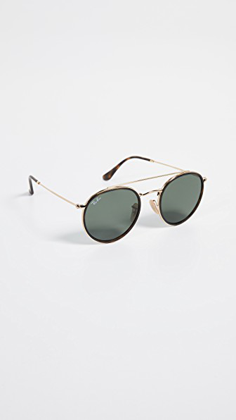 4d095cd37fcd Ray Ban Classic Round Aviators In Gold Green. Shopbop