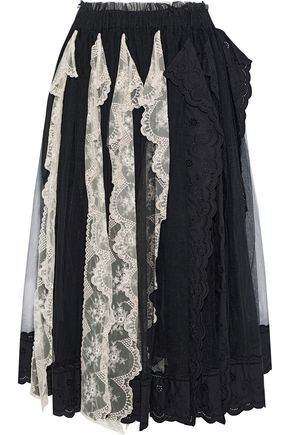 888ad6958e Simone Rocha Woman Broderie Anglaise-Paneled Embroidered Tulle Midi Skirt  Black