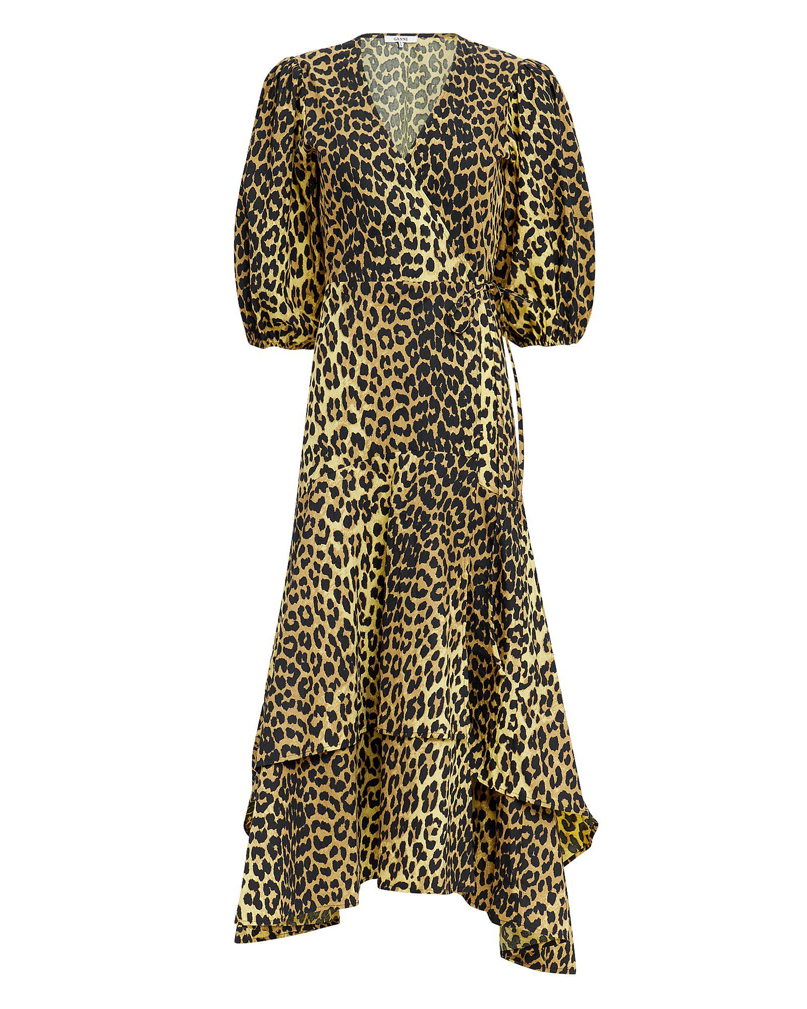 bdb73aaa25c Ganni Bijou Leopard Print Wrap Dress Multi Coloured | ModeSens