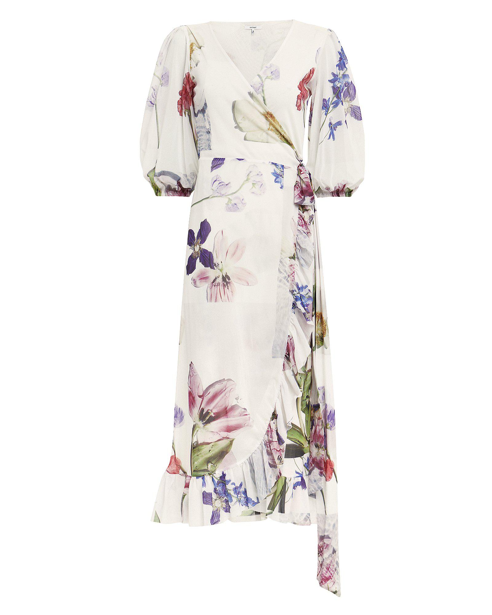 ae24296c39 Ganni Floral-Print Ruffle Half-Sleeve Wrap Dress