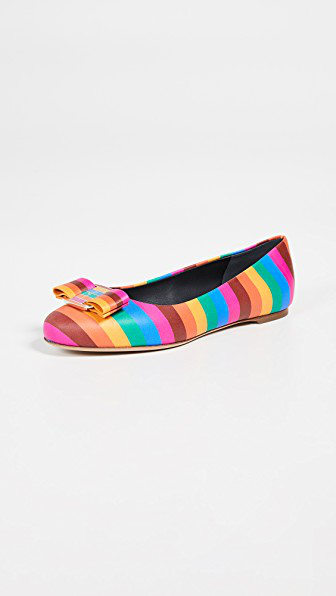 d98530d868da2 Salvatore Ferragamo Varina Rainbow Leather Bow Ballet Flats