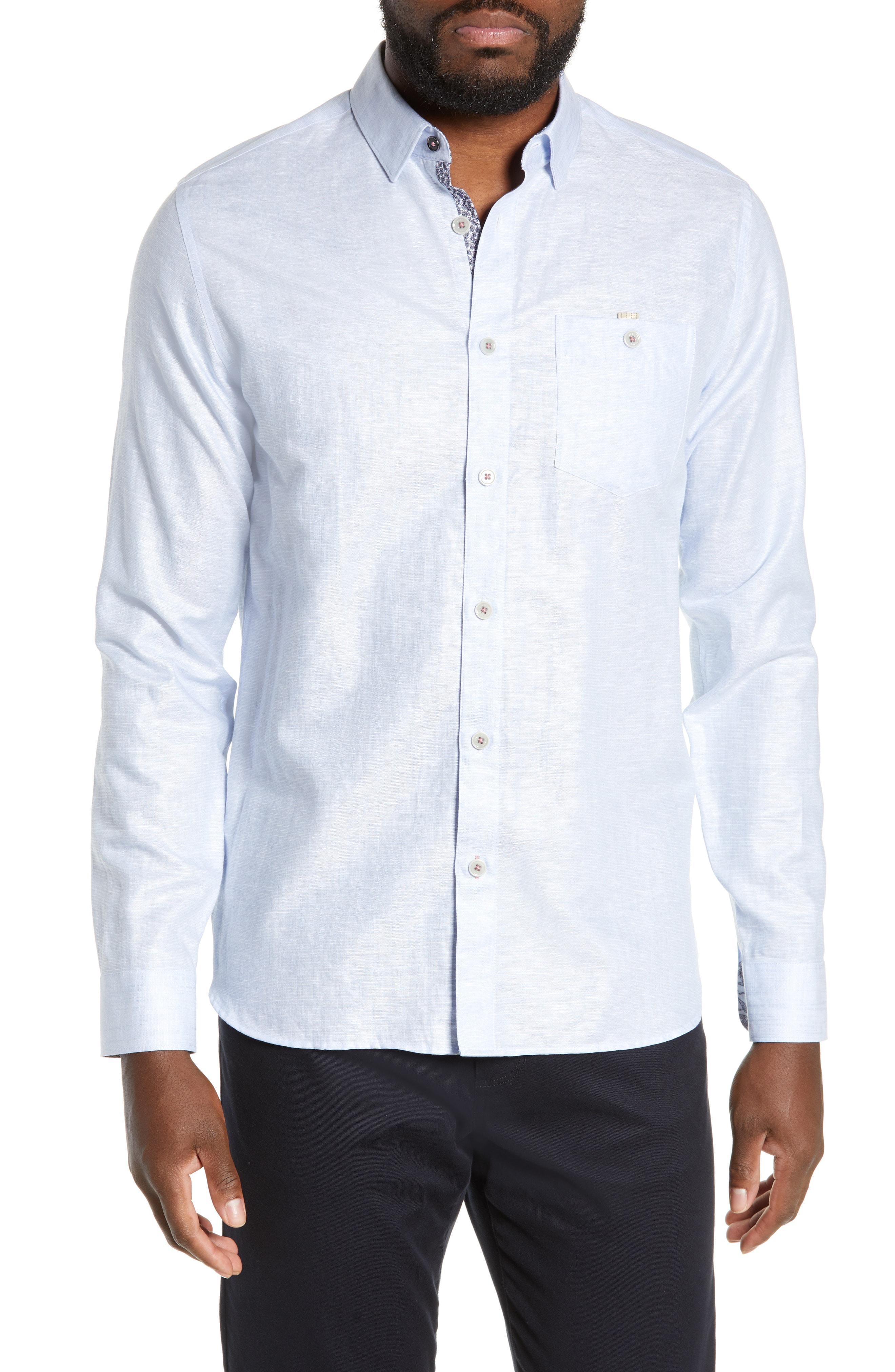 fbcce9f7db09 Ted Baker Emuu Slim Fit Linen Shirt In Light Blue