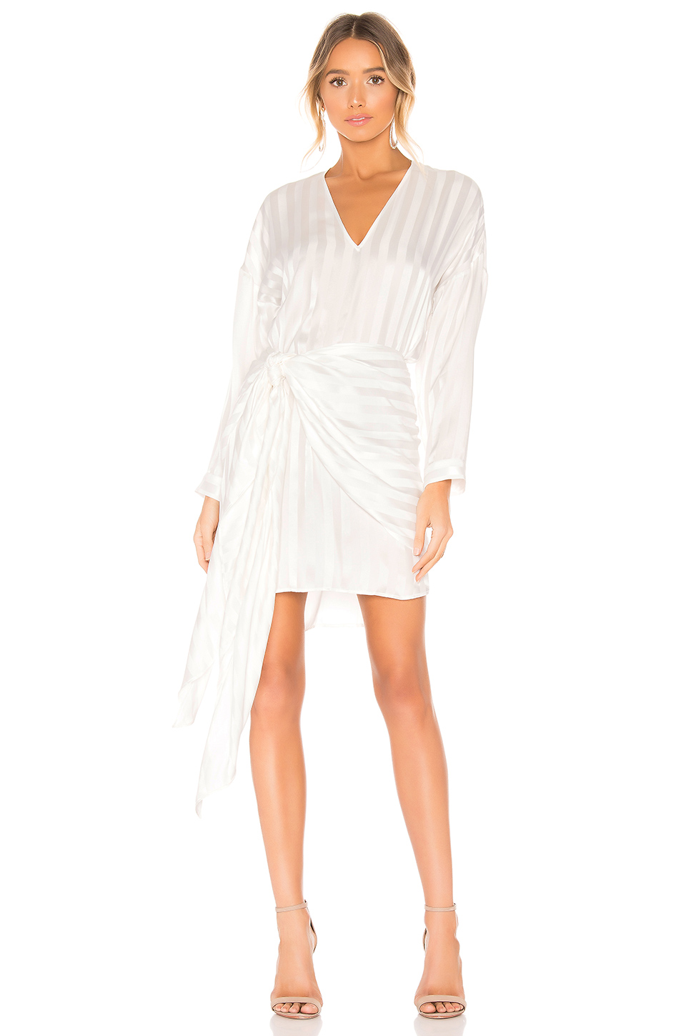 be63d8b29868 Michelle Mason Long Sleeve Mini Wrap Dress In Ivory | ModeSens