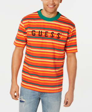 c59368f51e Guess Tour Striped Tee In Orange | ModeSens