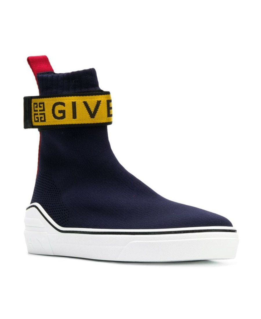 Givenchy Men's 4G Webbing Knitted Mid-Top Sneakers In Blue
