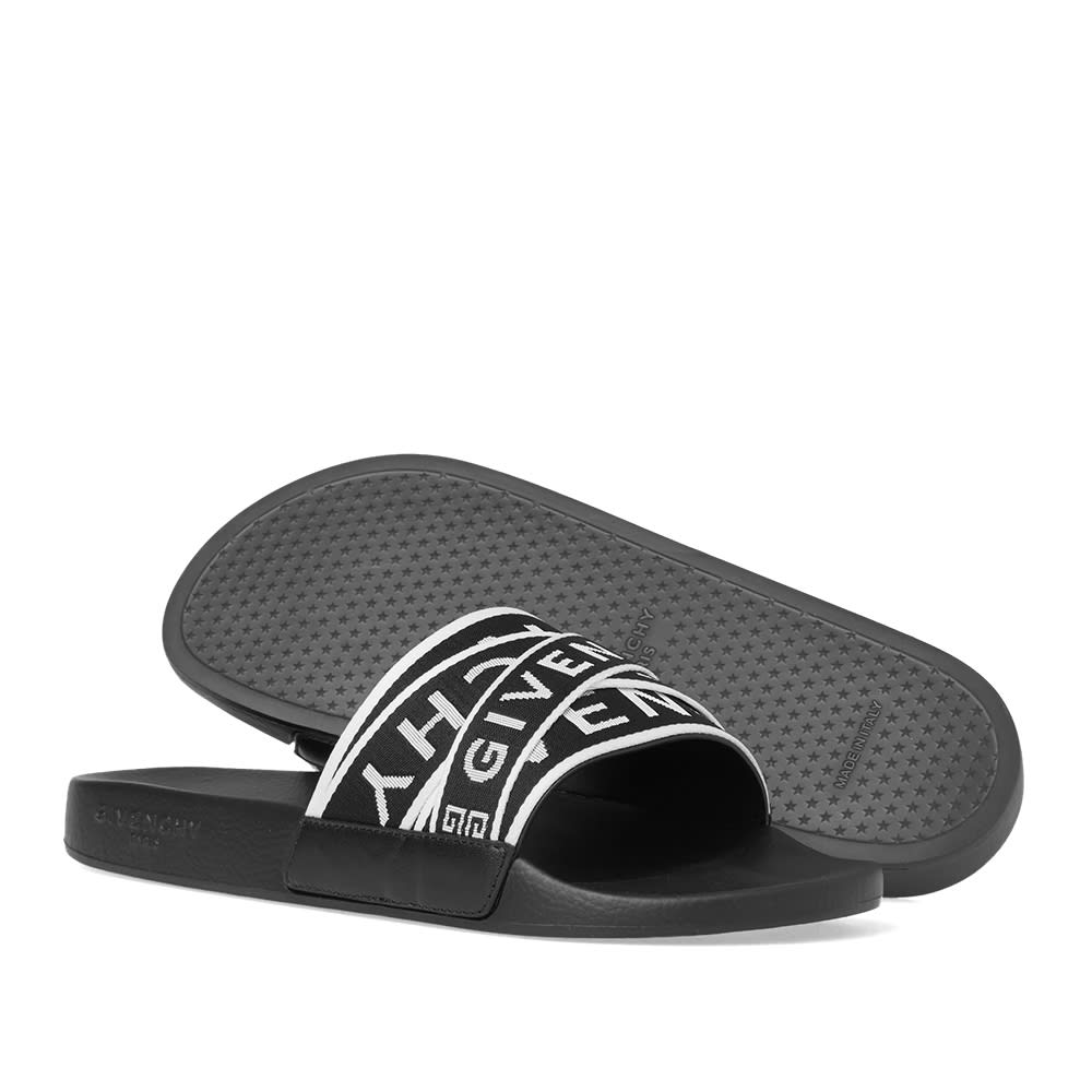 Givenchy Logo-Jacquard Webbing, Leather And Rubber Slides In 004 Black White