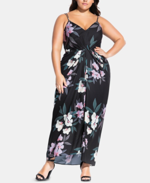 Trendy Plus Size Floral-Print Maxi Dress in Summer Orchard