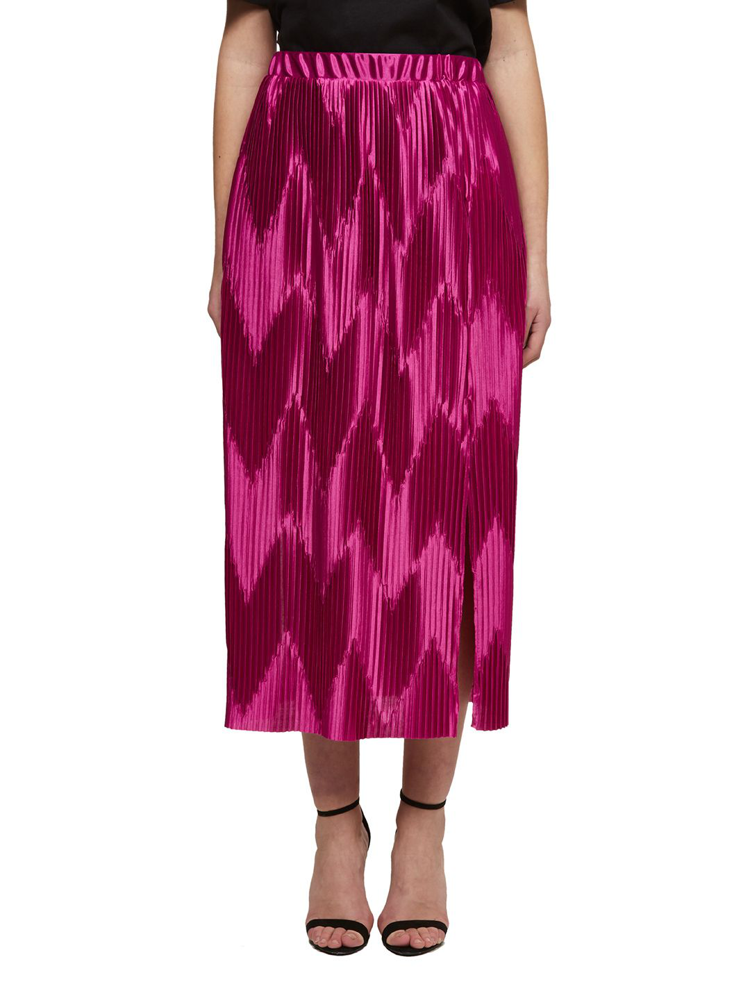 64fc3127e9 Givenchy Zig Zag Pleated Midi Skirt In Pink | ModeSens
