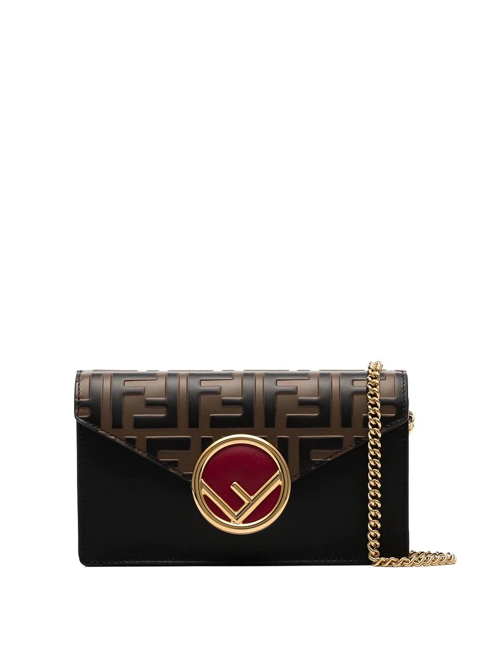830c455b Fendi Black, Brown And Red Ff Logo Leather Belt Bag