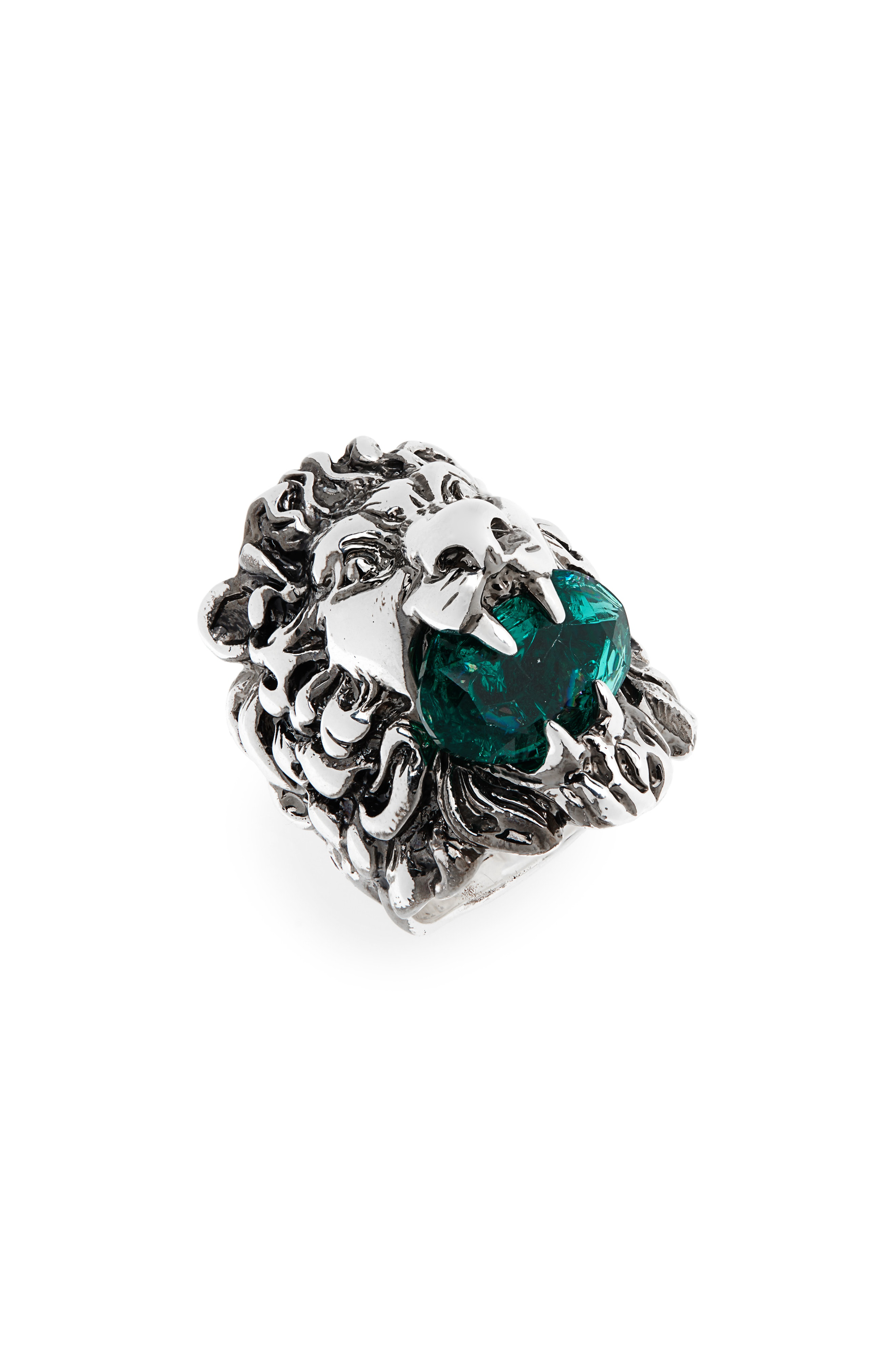 a42501bc1 Gucci Lion Head Aureco Crystal Ring In Silver/ Green | ModeSens