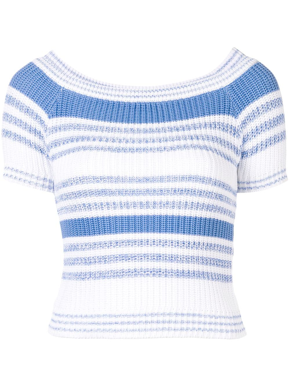 00b78d85c2 Red Valentino White And Blue Off-The-Shoulder Sweater