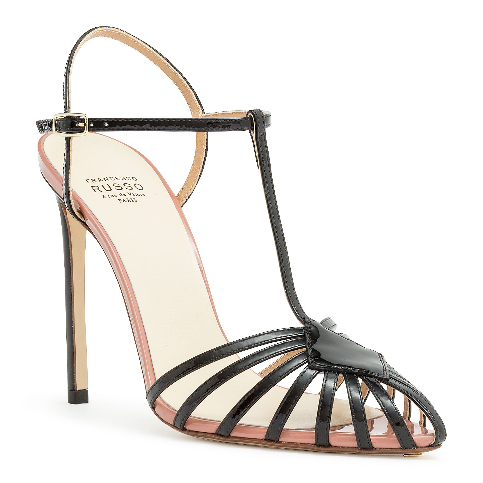 6f2963b20f2 Black Patent T-Bar Sandal in Black/Pink