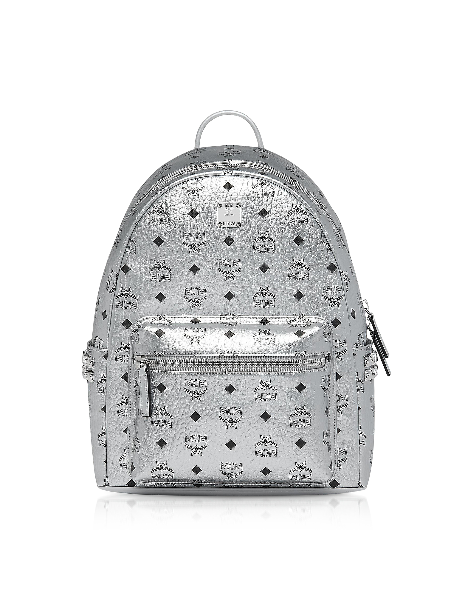 088cc08aaab7 Mcm Small Stark Side Stud Metallic Faux Leather Backpack - Metallic In  Silver