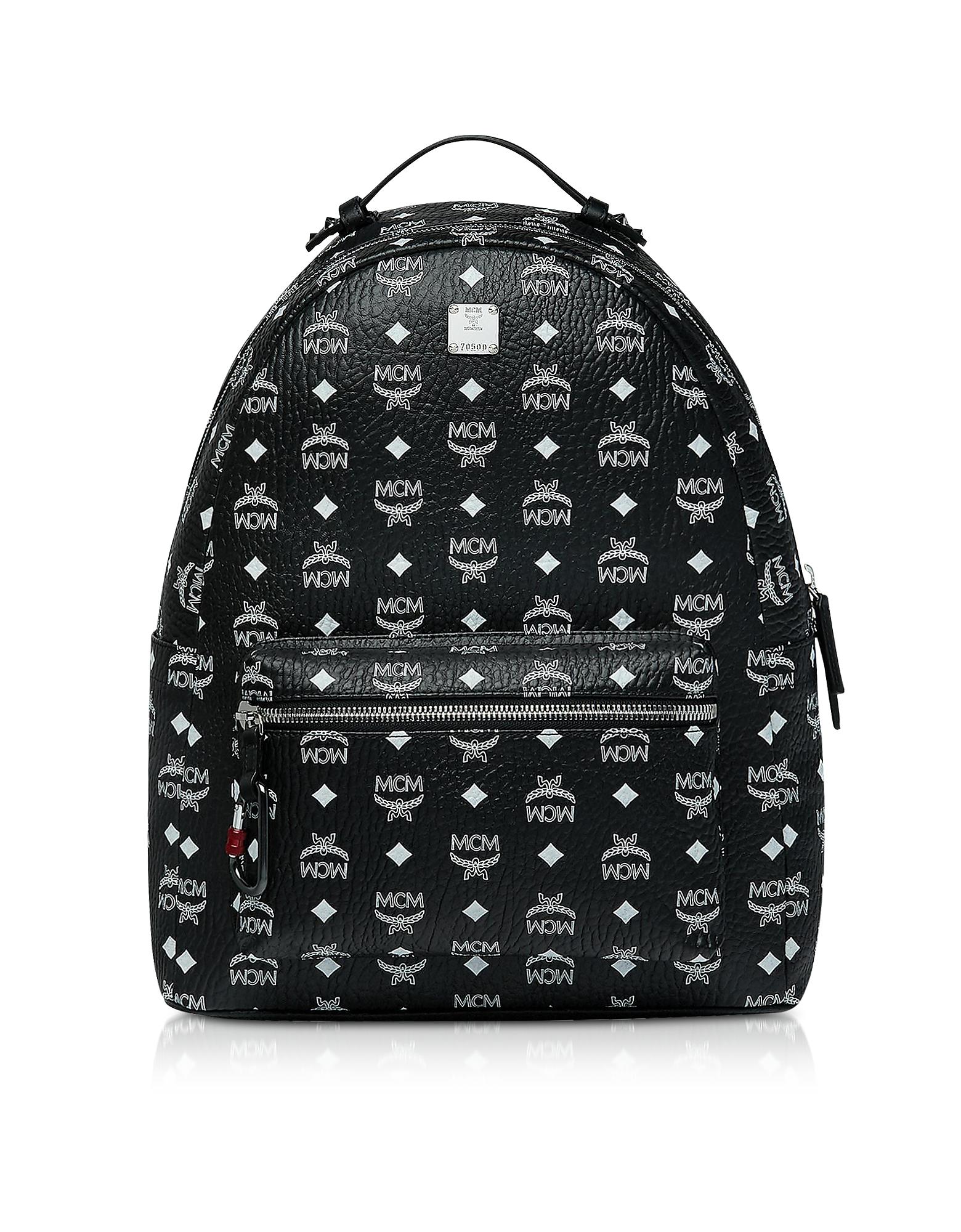 cd5b85d5e05 Mcm Black Stark Backpack W White Logo Visetos 40 In Bv