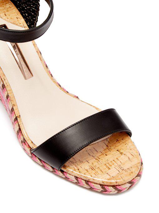 b03ea1dcaef Sophia Webster - Lucita Rainbow Raffia Wedge Sandals - Womens - Black Multi