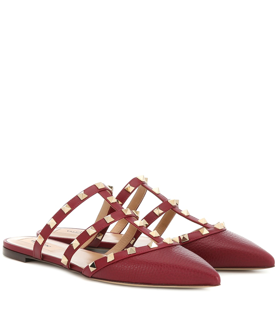 19ea89000d1ec Valentino Rockstud Leather Slippers In Red | ModeSens