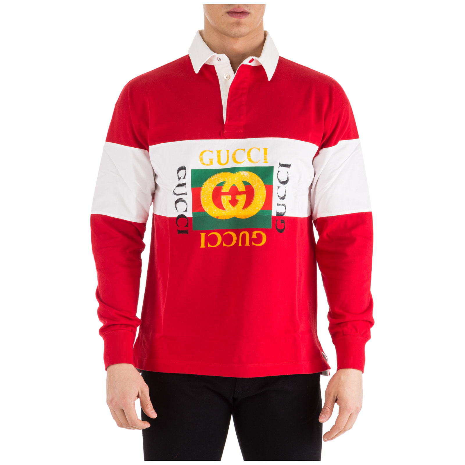 a52356f2f5d Gucci Logo-Print Striped Loopback Cotton-Jersey Rugby Shirt - Red ...