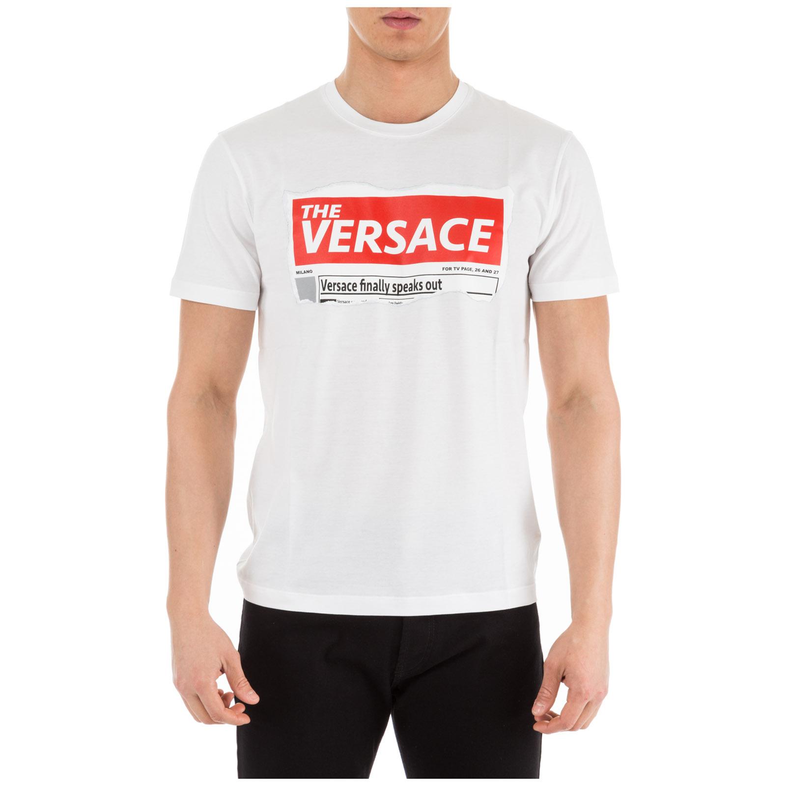 67759433 Versace Men's Short Sleeve T-Shirt Crew Neckline Jumper In White ...