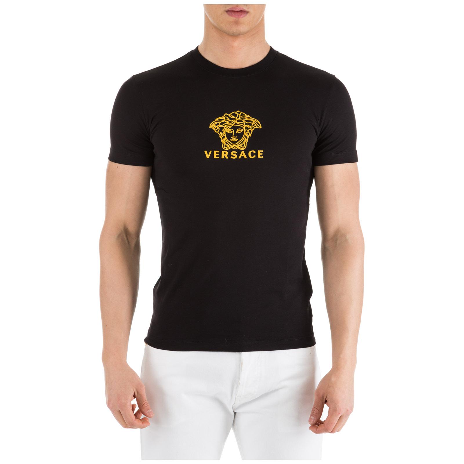 033a2859 Versace Men's Short Sleeve T-Shirt Crew Neckline Jumper In Black ...