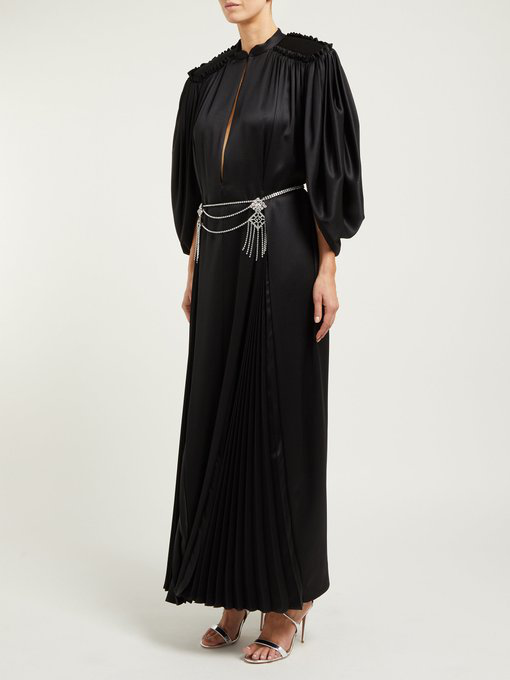 783bdb54cdf Gucci Cape Sleeve Open Front Crystal-Embellished Belted Gown - Black ...