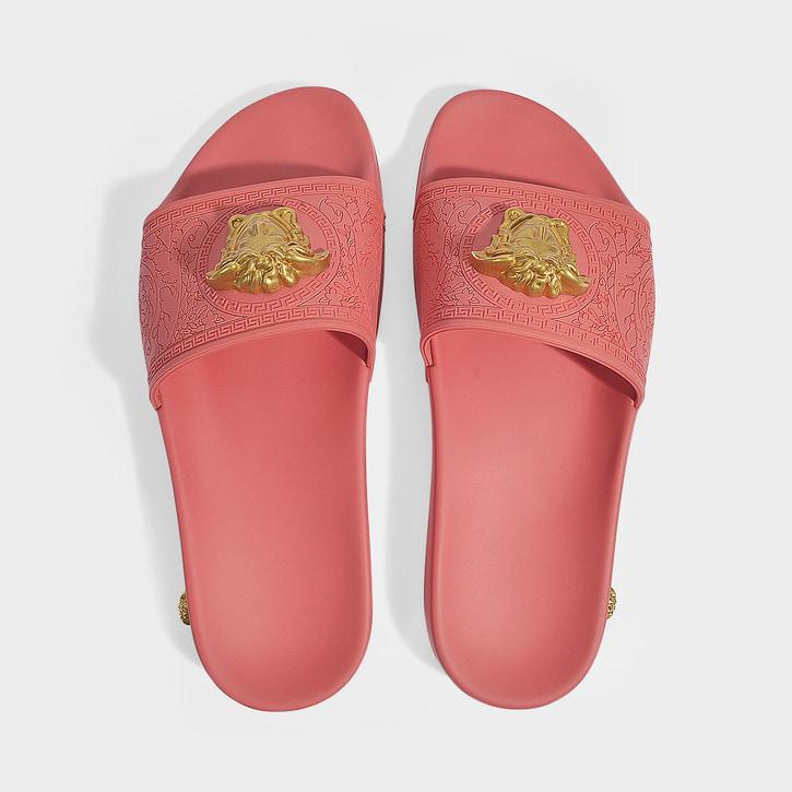 Versace Palazzo Medusa Pool Slide Sandals In Ksaot Rosa Oro