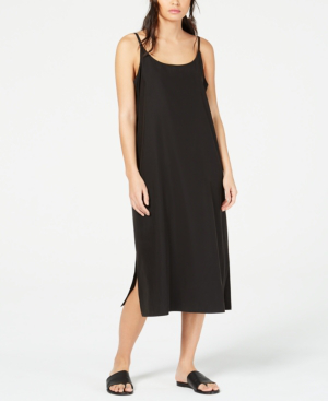 2f3cdb6df4ca Eileen Fisher Petite Sandwashed Scoop-Neck Slip Dress In Black ...