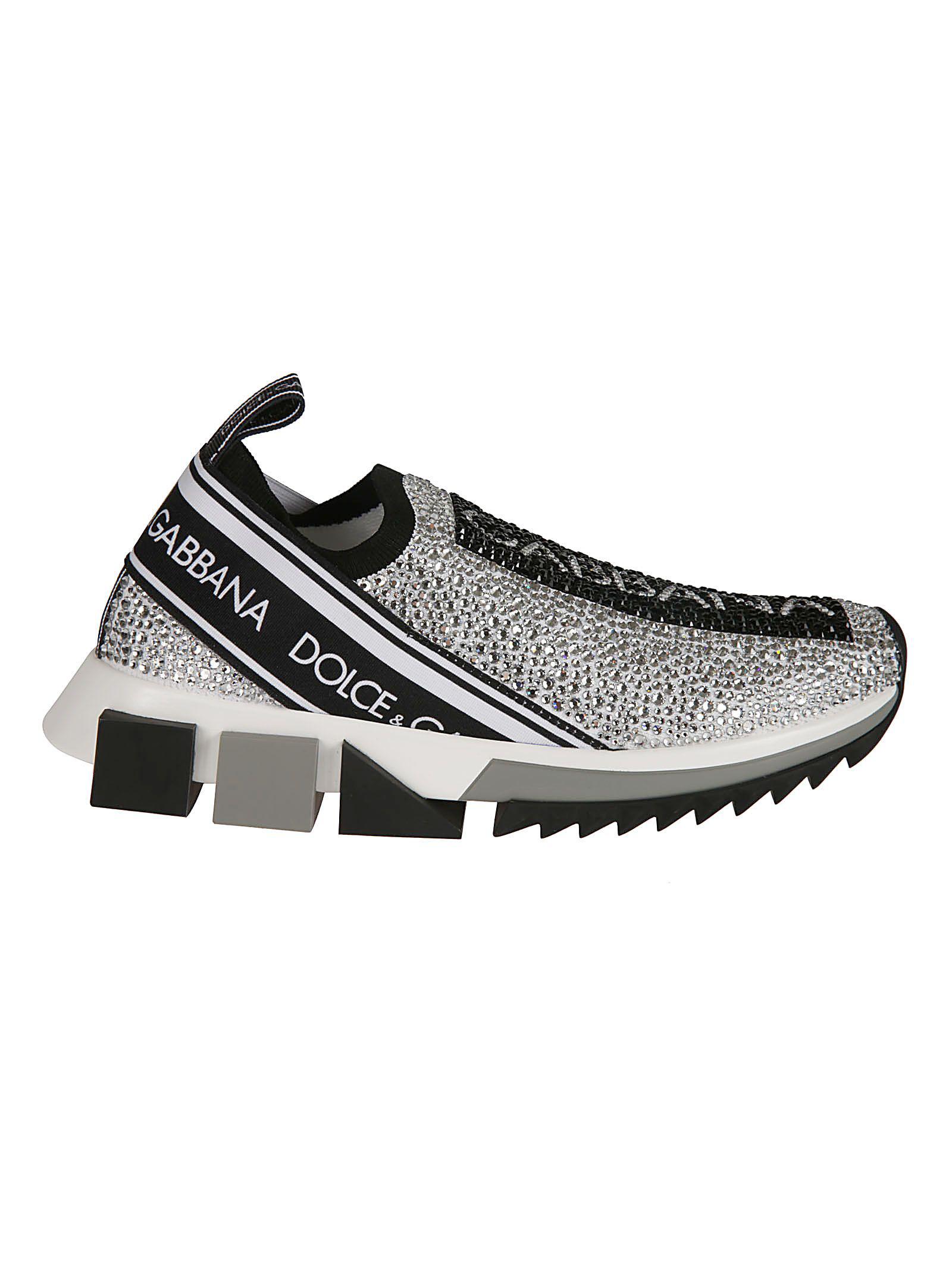 b937c046c Dolce & Gabbana Sorrento Swarovski Crystal-Embellished Logo-Print Mesh  Slip-On Sneakers
