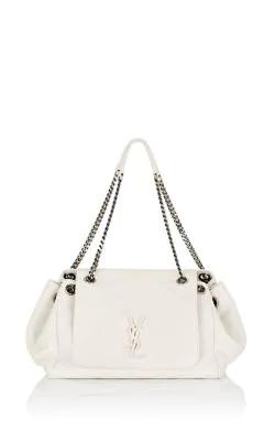 2aafa817c9c Saint Laurent Nolita Large Monogram Ysl Double Chain Shoulder Bag In White