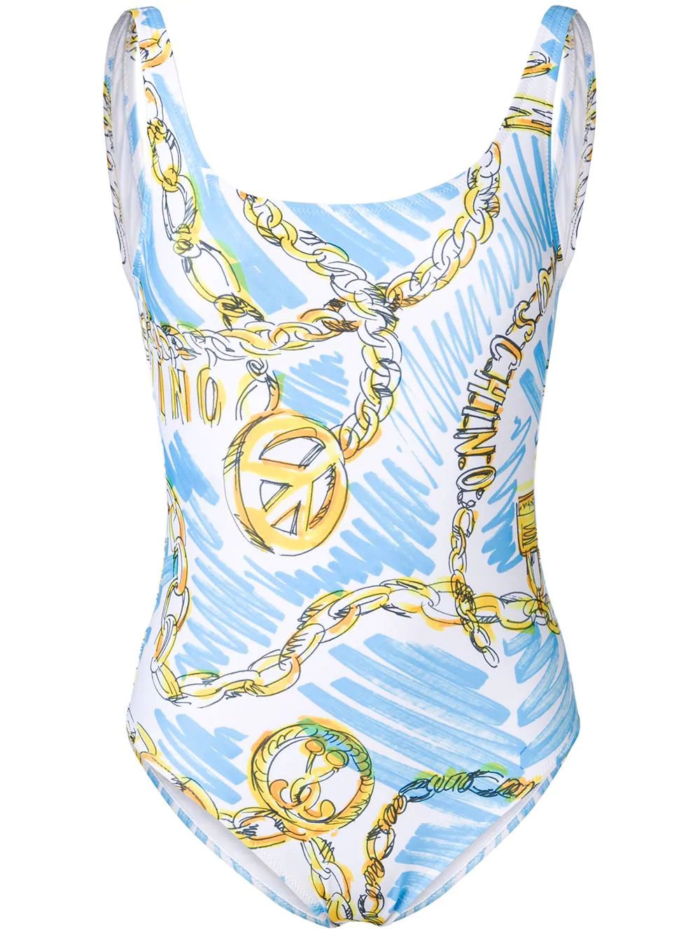 c75e9df99d Moschino Sketched Chain-Print Swimsuit - White | ModeSens