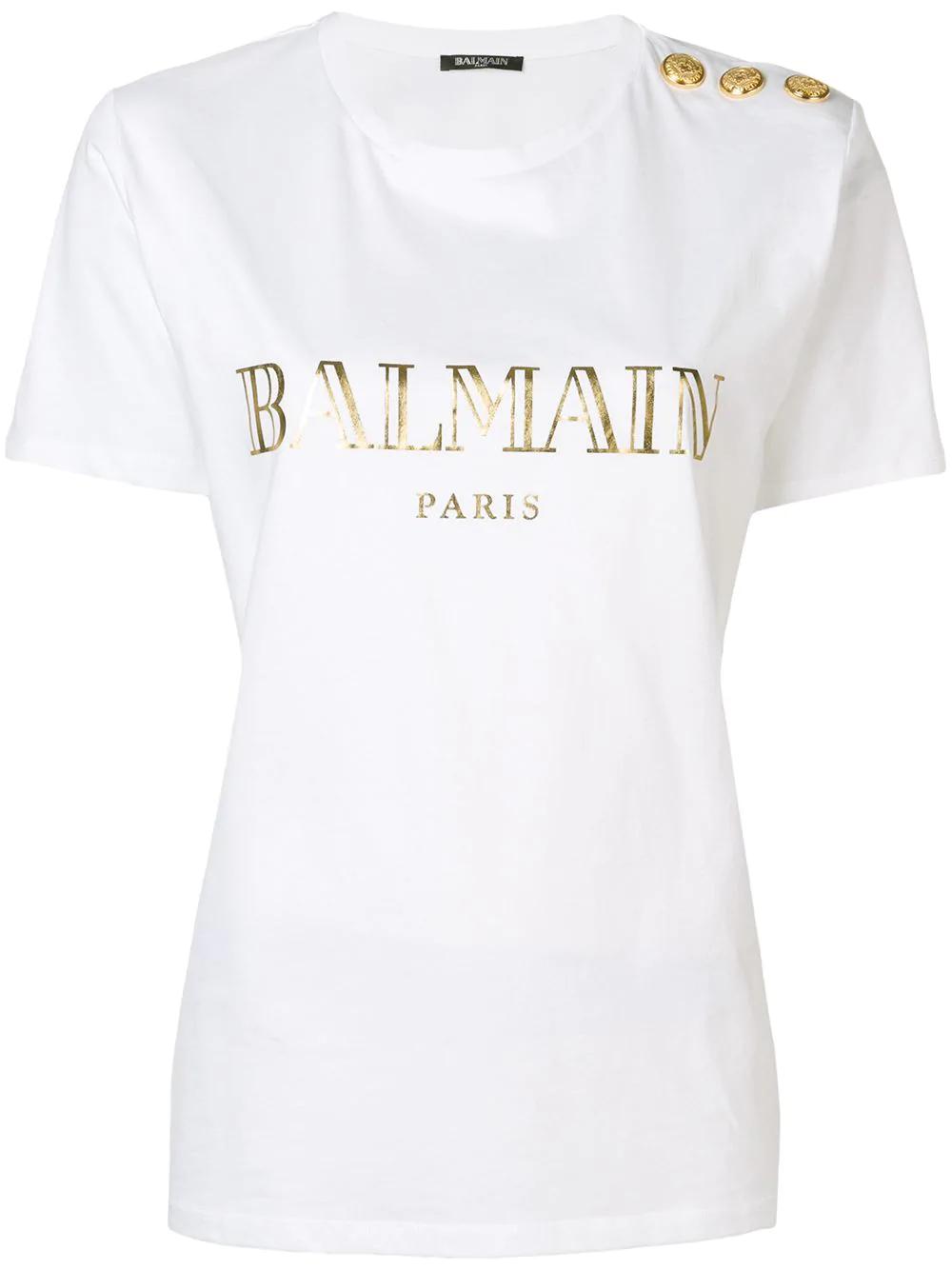 485a9b28 Balmain Womens Dark Blue Logo-Print Cotton-Jersey Short Sleeve T-Shirt In