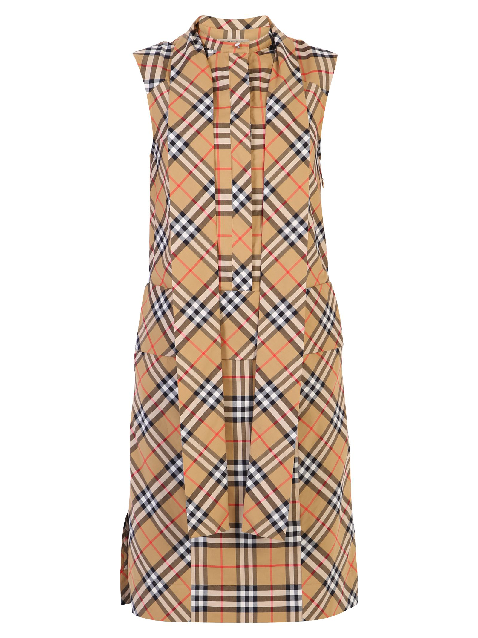 8578a77acefb1 Burberry Luna House-Check Sleeveless Cotton Dress In Brown | ModeSens