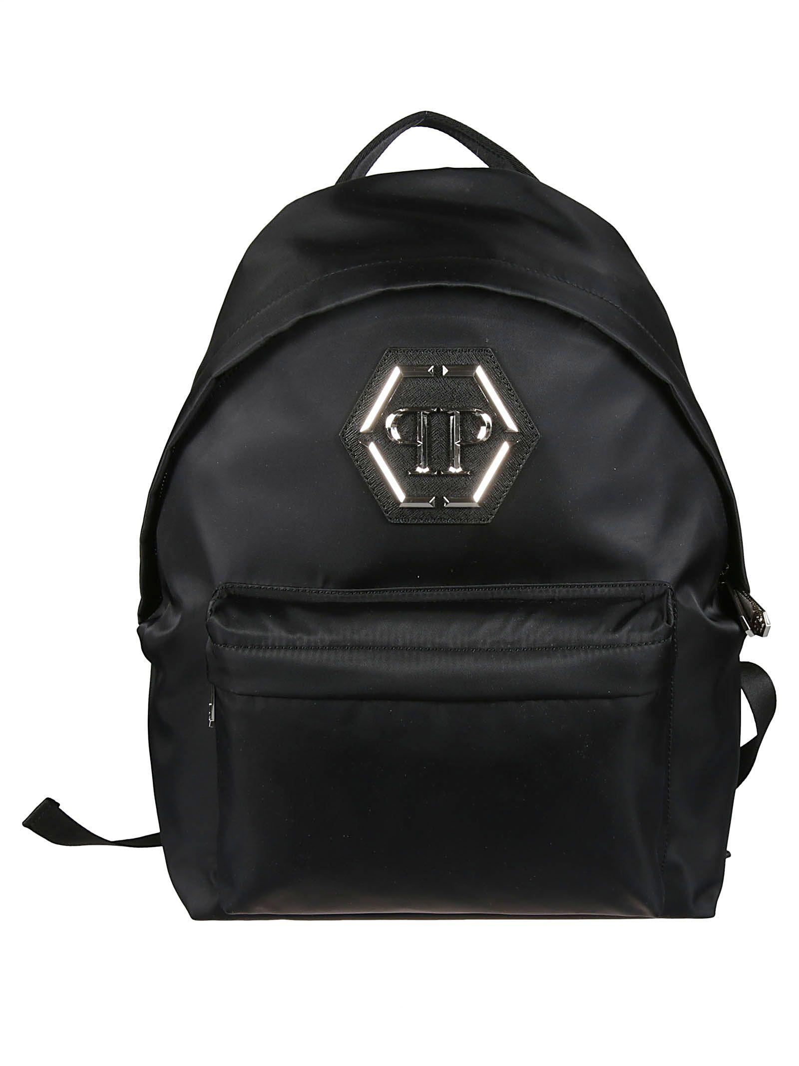 f5452db77627 Philipp Plein Logo Plaque Backpack In Black